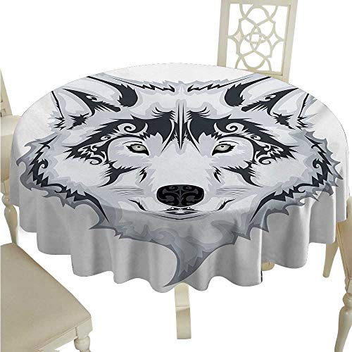 (cashewii Tattoo Elegance Engineered Christmas Tablecloth The Majestic Beast Creature Head of a Wild Wolf Tribal Tattoo Design Art Print for Kitchen Dinning Tabletop Decoration D54 White and Black)