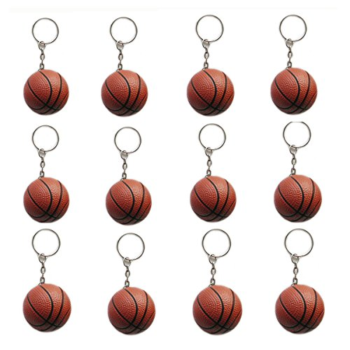 OKOK 12 Pcs Brown Basketball Keychains for Kids Party Favors, School Carnival Prizes, Sport Stress Ball -