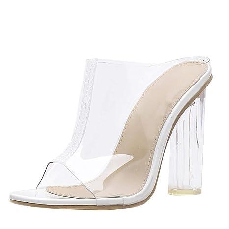 6ec773633f4 Copercn Womens Ladies Fashion PVC Fully Transparent Peep-Toe Round High  Block Heel Deep Mouth