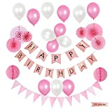 BTSD-home Happy Birthday Banner Paper Fans Decorations - Perfect Party Supplies Kit, Pink White Foiled Bunting Flag Garland and Hot Pink & Light Pink Tissue Paper Fans Pom Poms, 23pcs