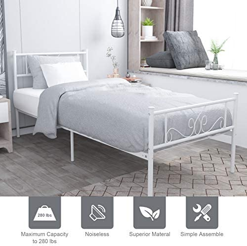 WeeHom Kids Student Single Metal Bed Frame Twin Size with Unique Flower Design Sturdy Metal Frame Premium Steel Slat Support Platform Bed for Guest Room No Boxspring Need White 51Iy 2BNuXwHL