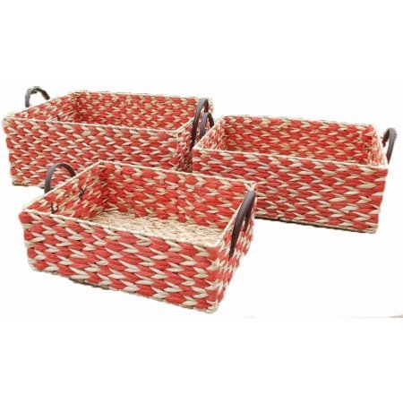 Baum 2-Tone Rush Baskets, Set of 3, Red