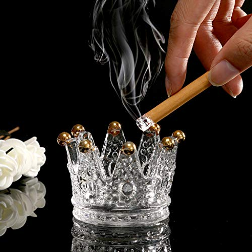 - Maikouhai 3 in 1 Multifuntional Crown Crystal Cigarette Ashtray, Elegant Table Desktop Candlestick Tea Light Stand Candle Holder, Transparent & Gold Home Decor Birthday, 75x75x50mm