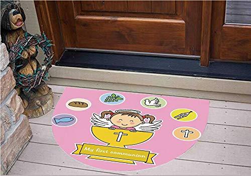 3D Semicircle Floor Stickers Personalized Floor Wall Sticker Decals,Happy Smiling Child Illustration Prayer Believe,Kitchen Bathroom Tile Sticker Living Room Bedroom Kids Room Decor Art Mural D43.3