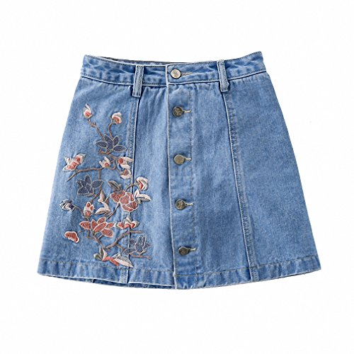 Womens NEW Vintage Flower Embroidered Jeans Skirt Female High Waist Mini Skirt Summer A-Line Light Blue M