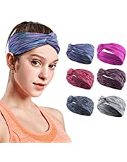 6 Pack Headbands for Women,Sweatband Sports Headbands for Adult Women,Elastic Washable Headwraps for Women,Premium Hair Bandana for Running Yoga Workout Gym