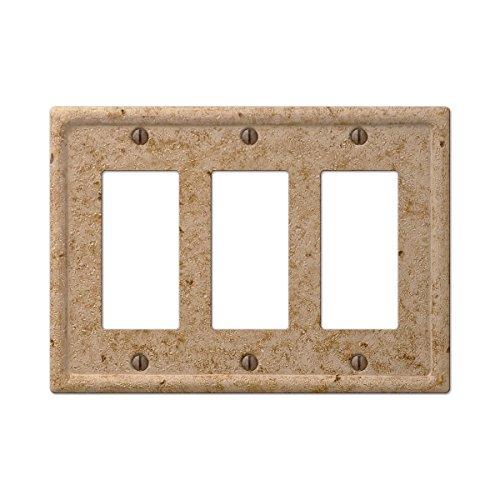 Tile Noce Wall - Amertac 8351RRRNC 3 Rocker GFCI Texture Stone Noce Wallplate