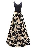OYISHA Womens Long Vintage Party Dress A-line Appliqued Evening Dresses AWY5