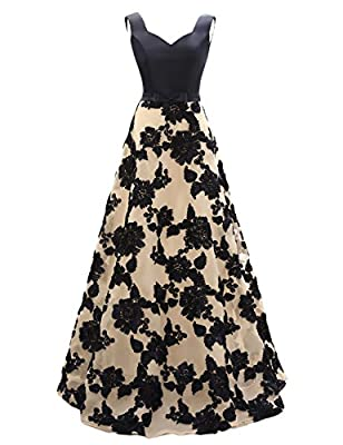 OYISHA Womens Long Vintage Party Dress A-line Appliqued Evening Dresses AWY5
