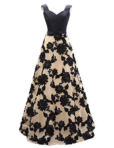 OYISHA Womens Long Vintage Party Dress A-Line Appliqued Evening Dresses AWY5 Navy Blue 18W