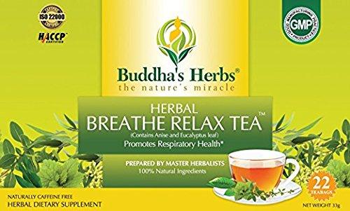 Buddhas Herbs Premium Breathe Relax tea with Eucalyptus, 44 Tea Bags (Pack of 2)