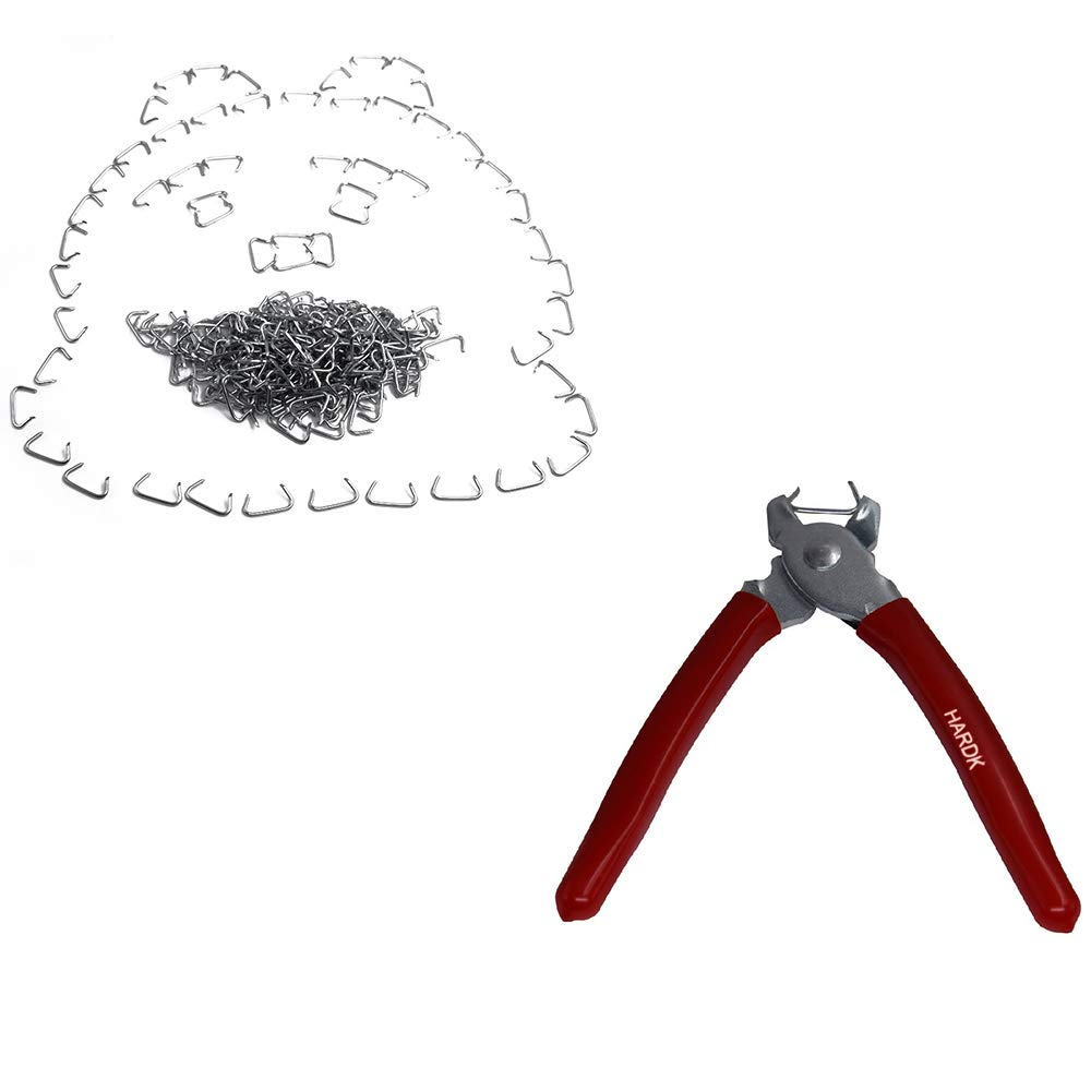 HARDK Hog Ring Pliers & 300 Galvanized Hog Rings - Professional Upholstery Installation Kit by HARDK
