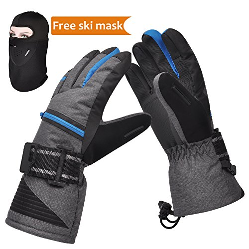 Weather Proof Ski Gloves, The Warmest 3M Insulation Waterproof Winter Snowboard Mittens with Free Breathable Face Mask for Men and Women Outdoor Sports