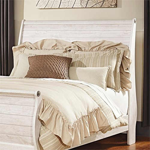 Signature Design by Ashley B267-77 Willowton Sleigh Headboard, Queen (Antique White Bed Frame)