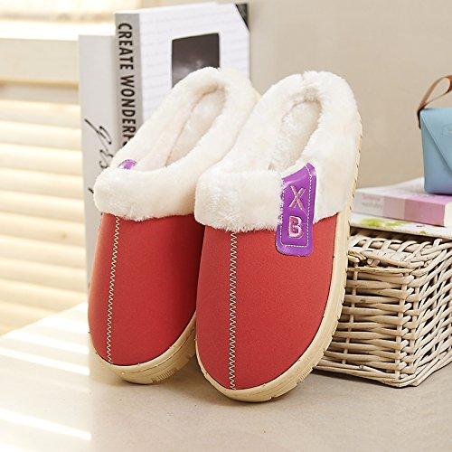 Y-Hui impermeable de algodón de hombres zapatillas, bolsas de baja y el invierno interiores domésticos inferior grueso caliente hembra par Home zapatillas Orange red