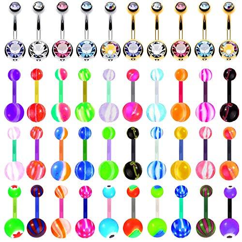 BodyJ4You 60PC Belly Button Ring Set 14G Mix CZ Bioflex Bar Acrylic Banana Body Piercing Jewelry