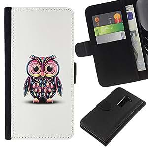 All Phone Most Case / Oferta Especial Cáscara Funda de cuero Monedero Cubierta de proteccion Caso / Wallet Case for LG G2 D800 // Pink Owl Art Colorful Cartoon Character
