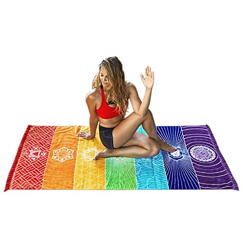 Yoga Mat Tapestry Rainbow 7 Chakra Stripes Beach Towel Summer Wall Hanging Mandala Blanket Travel Sunscreen Shawl Hippy Boho