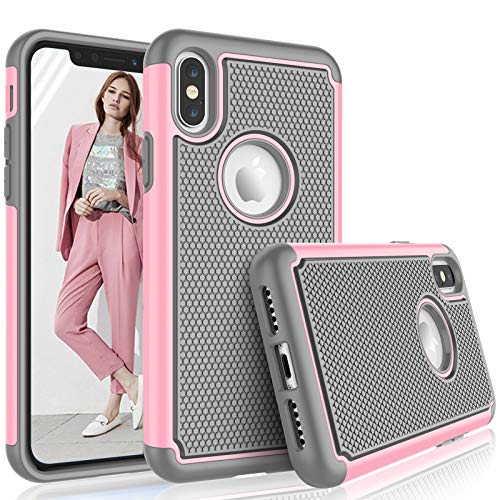 Tekcoo for iPhone XS Max Case / (6.5) iPhone XS Max Case for Girls, [Tmajor] Shock Absorbing [Baby Pink] Rubber Silicone & Plastic Scratch Resistant Bumper Cute Sturdy Hard Cases Cover