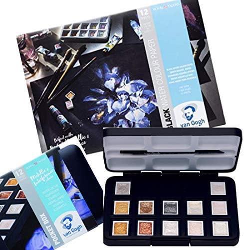 Van Gogh Caja de acuarelas de colores metálicos con bloc de acuarelas negro: Amazon.es: Juguetes y juegos