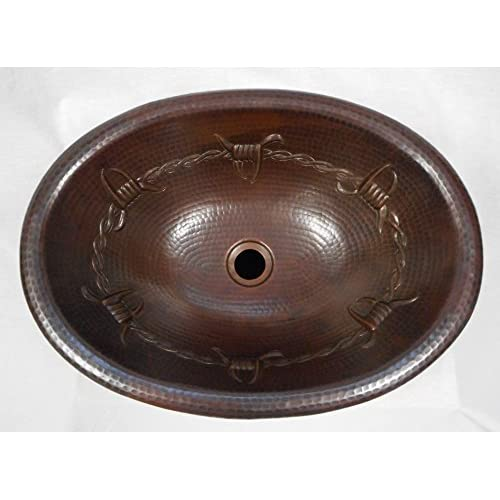 "SimplyCopper 19"" Oval Copper Bathroom Drop In Bathroom Sink with Barbed Wire Design hot sale"