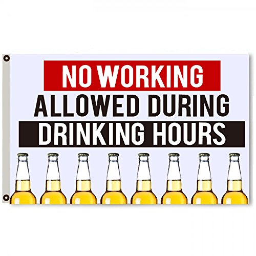 Flylong No Working Allowed During Drinking Hours Flag Banner Man Cave 3x5Feet