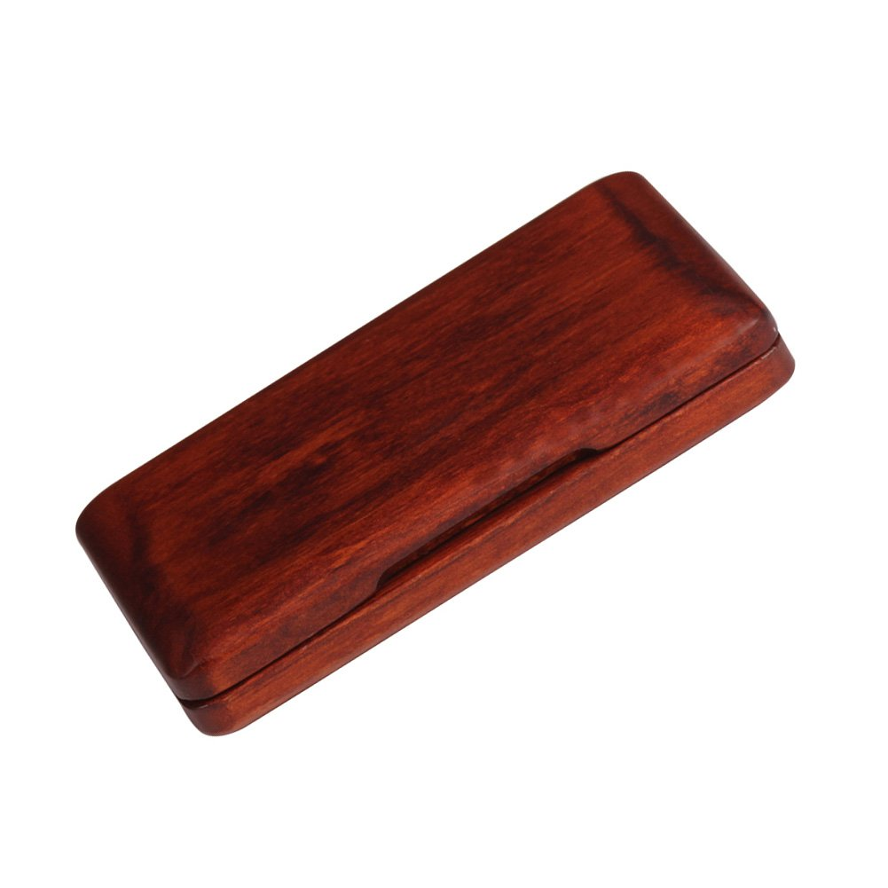 Portable Walnut Wood Reed Case, Hard Vintage Style Smooth Surface Reed Storage Box for Sax Clarinet Reeds(Amber Red)