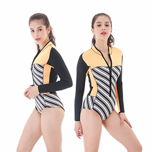 Goldfin Spring Suit 3mm Women Wetsuit Swimwear Front Zip Long Sleeves Beachwear for Surfing Diving Snorkeling Kayaking Swimming SW020 by (Orange, L)