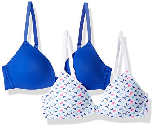 - Hanes Big Girl's 2-Pack Molded Wirefree Bra Bra, Navy Glistening/Triangle Fun Print, X Large