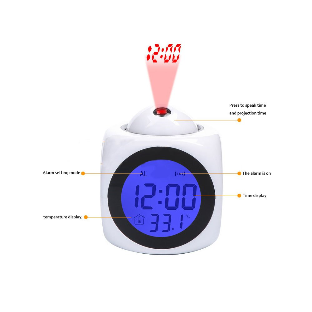 Projection Alarm Clock Wake Up Bedroom with Data and Temperature Display Talking Function LED Wall//Ceiling Projection,Customize The pattern-546.Photo Painting Red Fox Fuchs Oil Painting Painting Girlsight