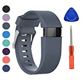 "BeneStellar Newest Fitbit Charge HR Band, Silicone Replacement Small Large Band Bracelet Strap for Fitbit Charge HR Wireless Activity Wristband (Large(6.2""-7.6""), Rock Blue 1-Pack)"