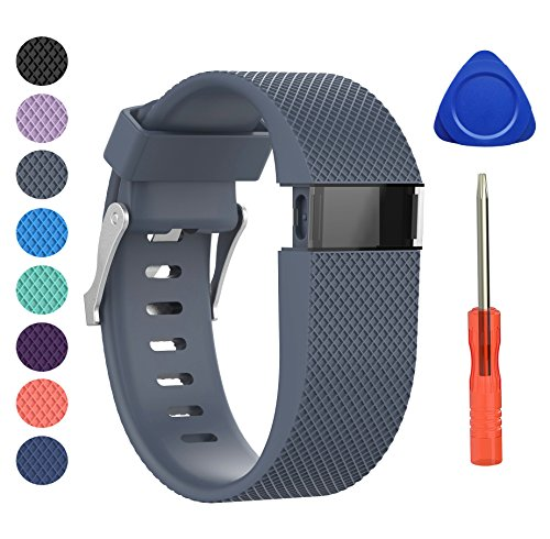BeneStellar Newest Fitbit Charge HR Band, Silicone Replacement Small Large Band Bracelet Strap for Fitbit Charge HR Wireless Activity Wristband (Large(6.2-7.6), Rock Blue 1-Pack)