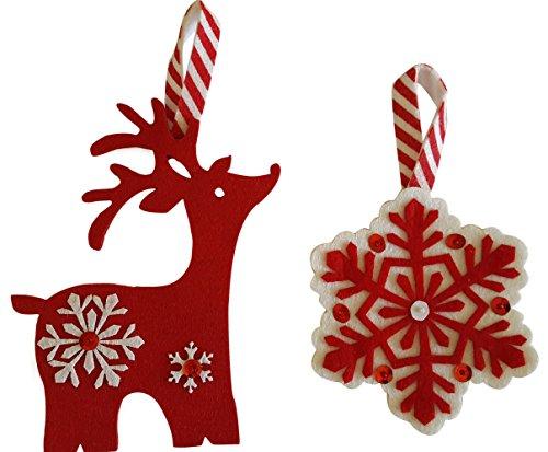 Gift Card Holder Set (Christmas Gift Card Holders Set of 6 - Felt - (Snowflake + Reindeer))