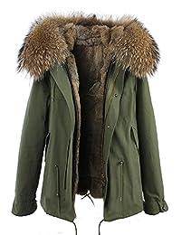 S.ROMZA Women Real Rabbit Fur Parka Short Hooded Coat Detachable Jacket Warm Coat