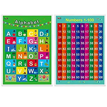 Amazon.com: Alphabet, números 1-100,2 carteles educativos ...