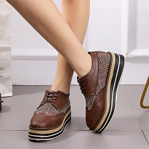 Women's Lace Vintage Dress Shoes Brogue up Square Toe GIY Oxfords Loafers Heels High Brown Platform Wingtips d48W7x