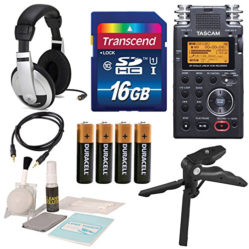 tascam-dr-100mkii-portable-2-channel-linear-pcm-recorder-with-deluxe-accessory-bundle-and-cleaning-k