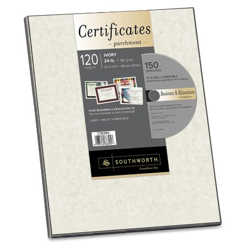 Certificate Border Templates - Southworth Parchment Paper Certificates with CD, 8.5 x 11 Inches, Ivory Border, 120 per Pack (CDE984)