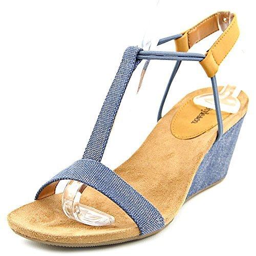 Style & Co Mulan Women Open Toe Canvas Blue Wedge Sandal, Indigo, Size 6.0 US (Mulan Blue Dress)