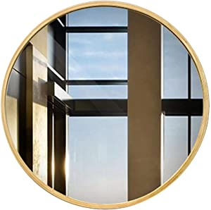 XCY Mirror Wood Frame, Round Wall Mirror Premium Bathroom Glass Panel Home Decorative Mirror for Bedroom, Living Room, Entryway,50Cm(19.7In),50Cm(19.7In)