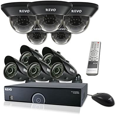 Surveillance Camera DVR Bundle – 5 Indoor Dome Night Vision CCTV, 5 Outdoor Weatherproof Bullet Cameras, 16 Ch 4TB Digital Video Recorder, 60Ft Cables