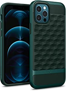 Caseology Parallax Compatible with iPhone 12 Pro Case Compatible with iPhone 12 Case (2020) - Midnight Green