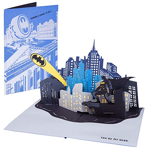 DC Comics Batman Bat Signal Pop-Up Card - Deluxe Handcrafted Pop Up Card - All Occasions - 5 x 7 inches (Birthday Batman Card)