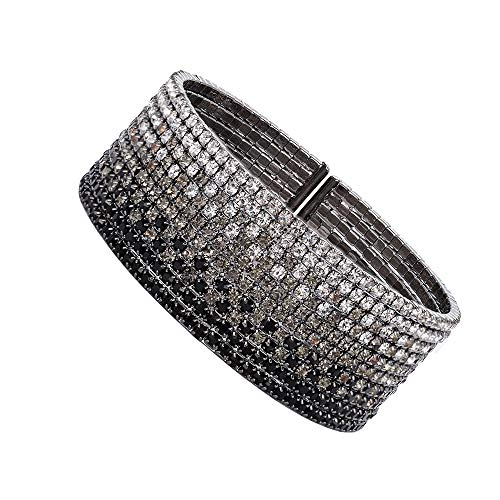 huiphong Fashion Rhinestone Bracelet for Women Clear Cuff Crystal Plating Silver Rose Gold Gift Bracelets of Luxury Shining Jewelry(Black-M/L-10 Lines)