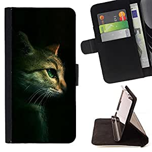 BullDog Case - FOR/HTC DESIRE 816 / - / cat feline portrait profile green eyes /- Monedero de cuero de la PU Llevar cubierta de la caja con el ID Credit Card Slots Flip funda de cuer