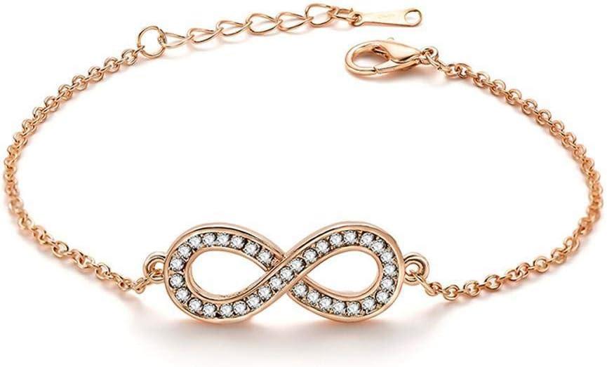 Shisky Womens Bracelet,Anti-Fatigue 170+32mm Alloy Plating with 8-Shaped Diamond