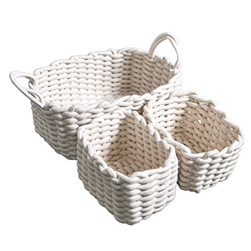 LUFOFOX Cotton Woven Storage Baskets with Dual Rope Handles for Clothes Storage Durable Nursery Bins(3 Pack,White) (Baskets White For Nursery Wicker)