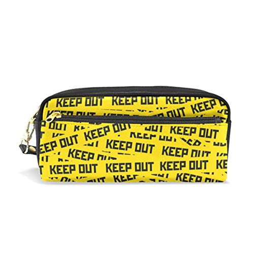 Pencil Case with Keep Out Caution Tape Print, Pen Bag Stationery Pouch Cosmetic Makeup Bag, PU Leather -
