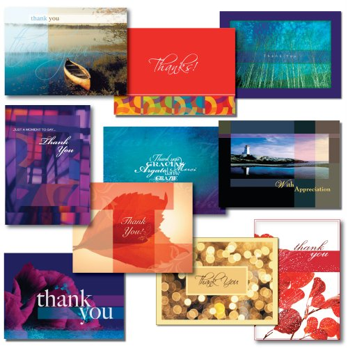 Thank You Greeting Card Assortment--Variety Box Set of 30 cards and envelopes. Perfect for both personal or business use. Show appreciation with this dramatic selection of 10 different designs and verses.