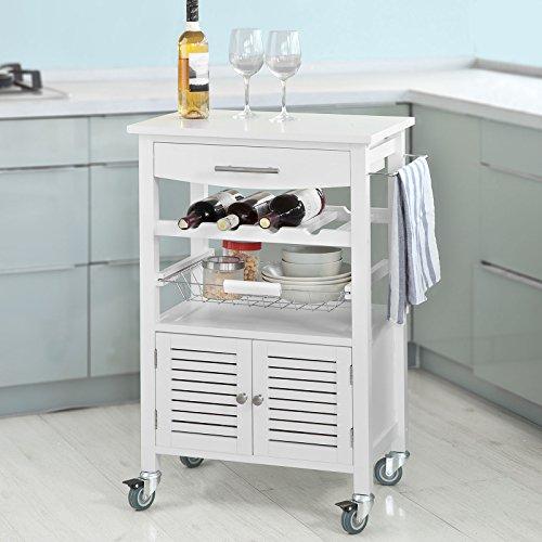 Haotian Kitchen storage trolley cart,Kitchen trolley cart (FKW09-W) Pine Solid Pine Cupboard